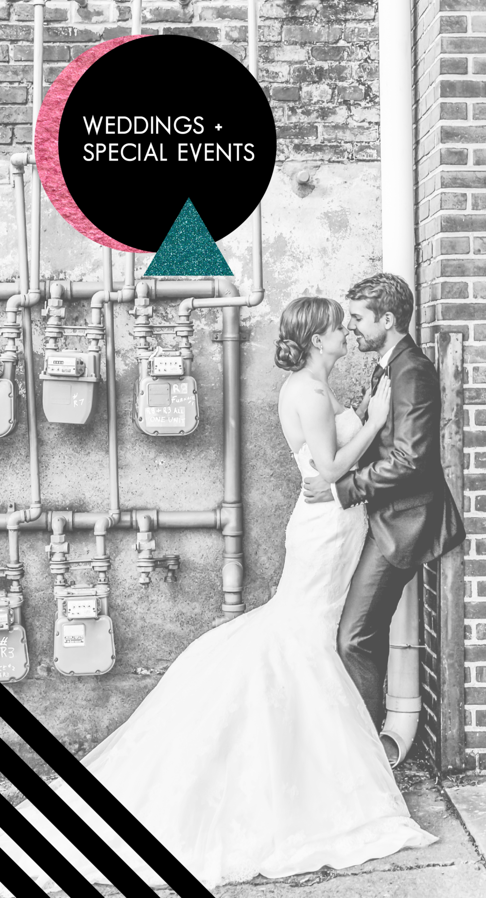 industrial wedding couple