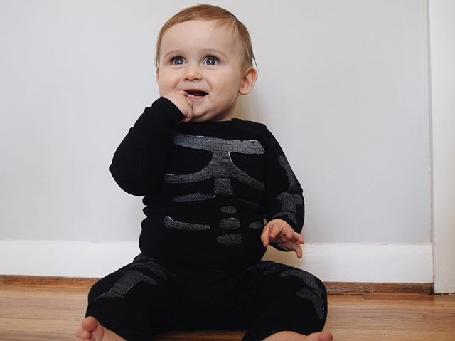 first Halloween with my chunky, two-toothed skeleton and his first handmade costume.