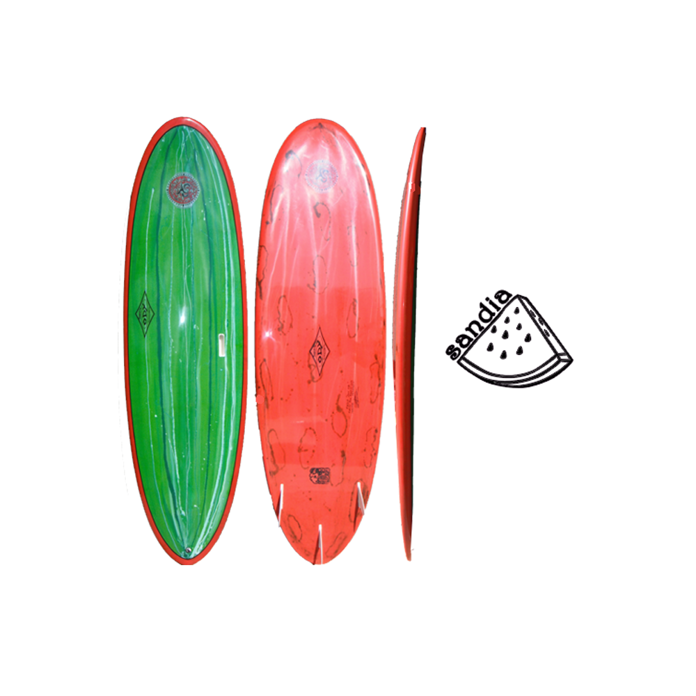 Green Watermelon Deck / Red with Black Acid Bottom