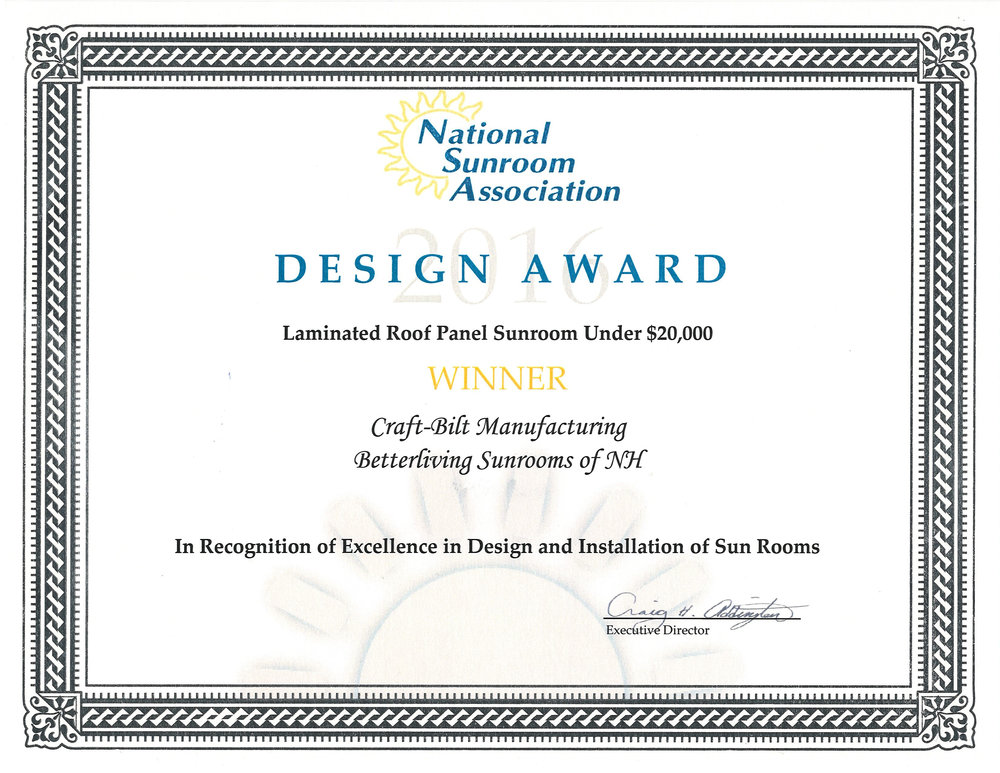 Sunroom Design Award - Betterliving Sunrooms of NH