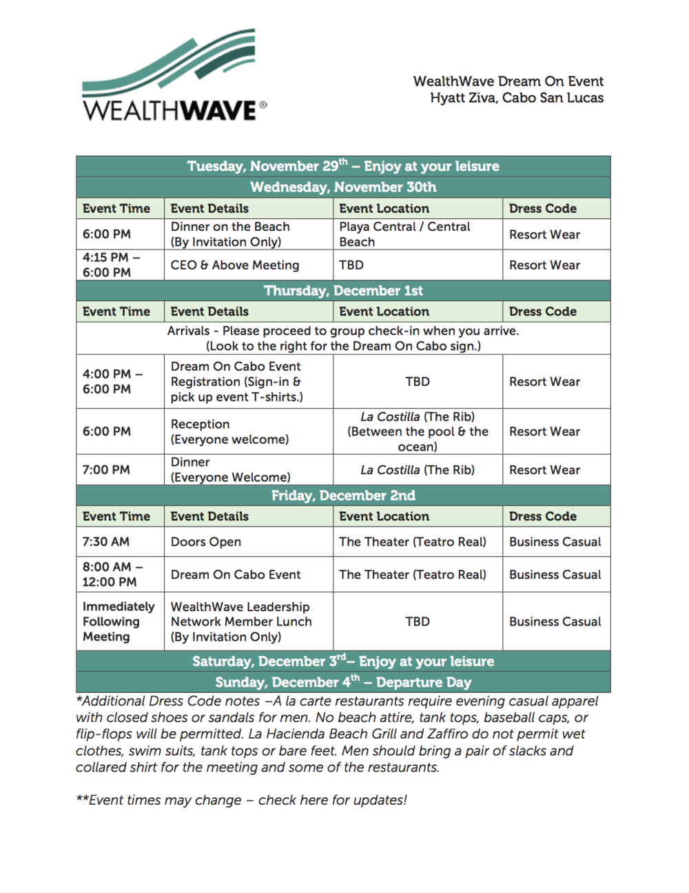 The Dream On Cabo Event Agenda WealthWave – Event Agenda