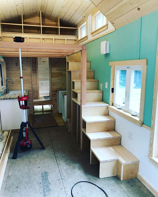 "The stairs and loft joists are in! These are our biggest and most ""stair-like"" stairs. They are almost 2' wide with ample storage beneath them. There will also be a handrail on the left side. . . . . #tinyhousecrafters #tinyhousestairs #tinyhouse #tinyhousebuild #designbuild #tinyhouseloft #loftjoists #thow #tinyhousebuilders"