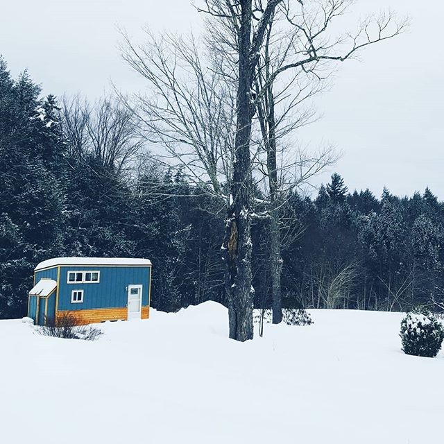 It's a winter wonderland here in Vermont and Lil Blue is still as cozy as ever!!! ❄❄🏡❄❄ Need a tiny house STAT? The 8x20 Lil Blue tiny house on wheels is ~still available~ ❄🏡❄ Check out the Lil Blue story highlights for more info or head on over to our website to get in touch with me! Link in bio ~~~ . . #tinyhouse #tinyhouseforsale #lilblue #8x20 #8x20tinyhouse #tinyhousecrafters #tinyhousedesign #tinyhousemovement #thow #tinyhouseparking #tinyhouseonwheels #livesimply #tryittiny #homeiswhereyouparkit #diy #tinyhouseblog #minimalism #lifeontheroad #homeonwheels #tinyhome #offgrid
