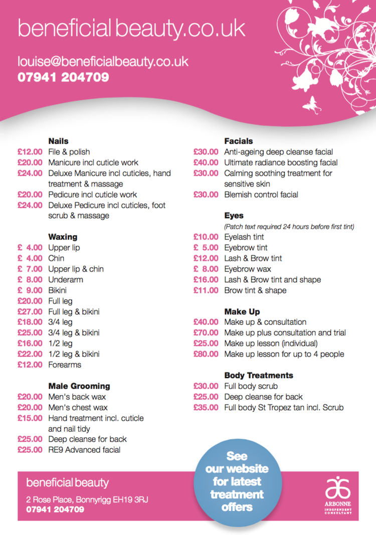 Price List Beneficial Beauty – Price List