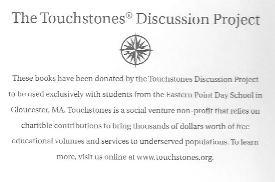 Inside of the book with the donation acknowledgement from the Touchstones program