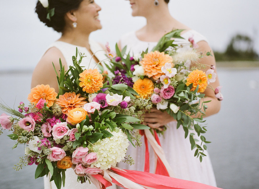 "BOHO WEDDINGS, ""  Nina and Margaret's 'Farmer's Market Chic' Flower Filled Wedding in Maine by Emily Elizabeth Events  """