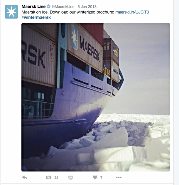 A tweet from Maersk Line's Twitter Account which was part of their #wintermaersk campaign that yielded over a 150 B2B Sales leads.