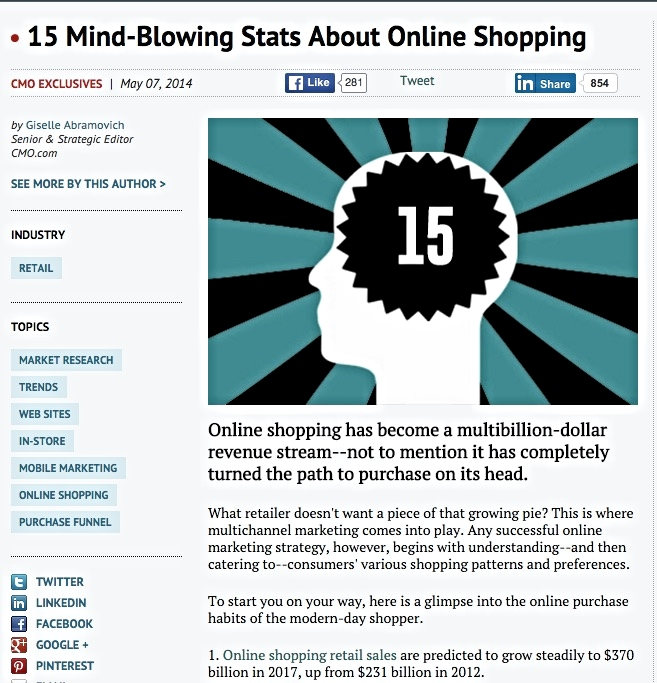 An example of an article from CMO.com. The CMO.com website alone generates 1.6 million monthly unique visitors for Adobe (source W3 snoop).