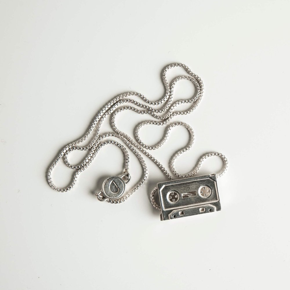 Gab McNeil Mix Tape Pendant featured in Esquire and GQ. (Photo credit: Mike Atkinson).