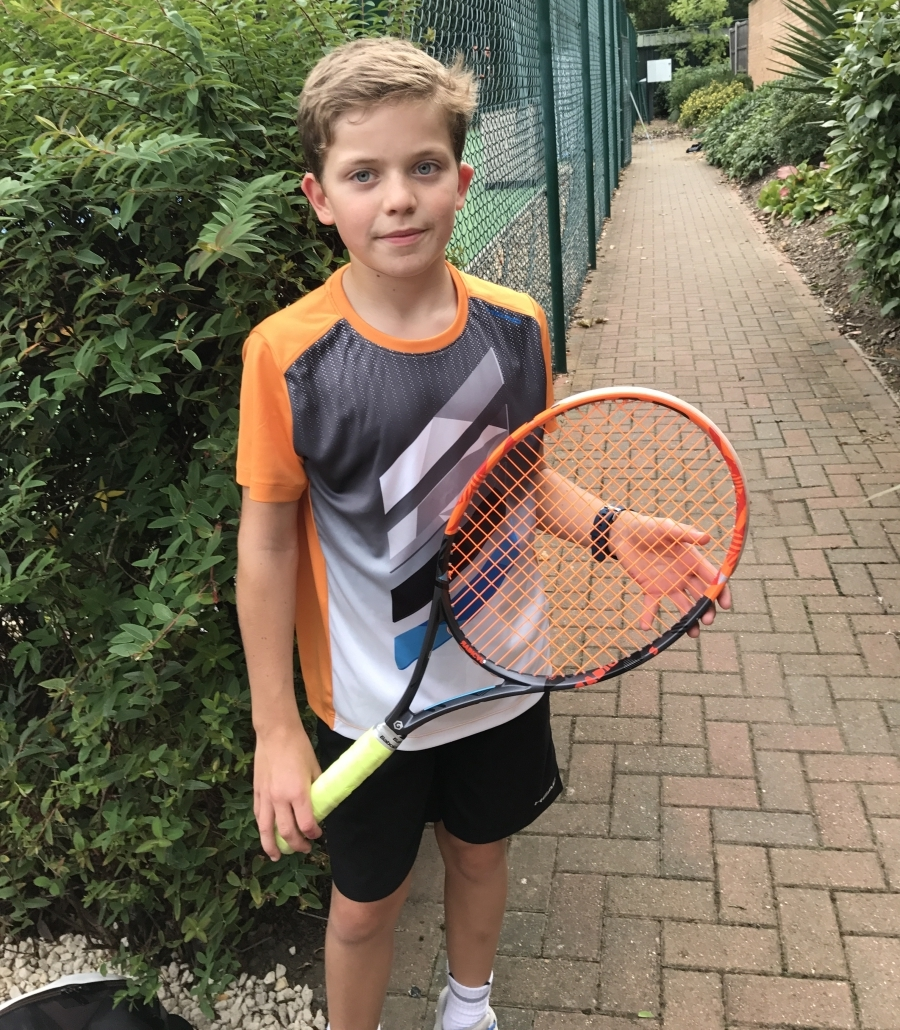 Luca Bluett getting ready for the Babolat Cup UK 2017