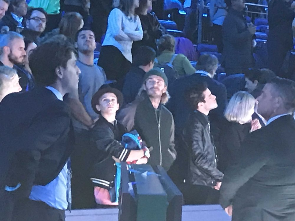 David Beckham and his son Romeo are big Dimitrov fans and were at the 02 to cheer him on.