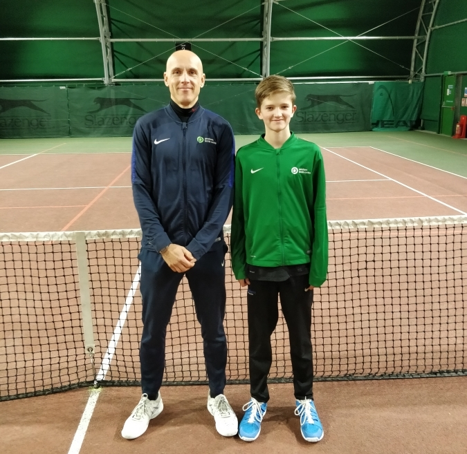 Sam with Pershore Tennis centre Head Coach Steve Bauer