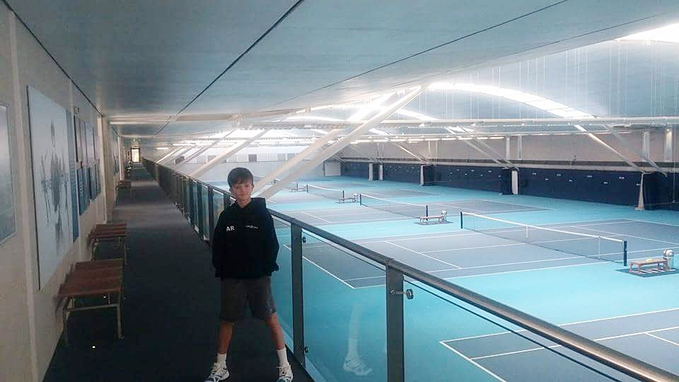 Sam at National tennis centre whilst at Annabel Croft academy