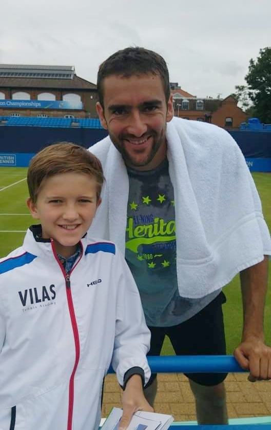 Sam with Cilic at Queen's 2016