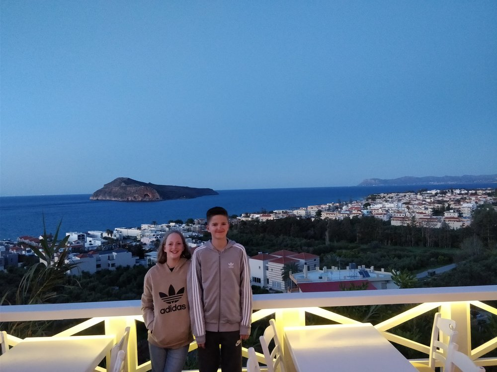 Sam with his Sister Lily on holiday in Crete, the spring sunshine seemed to really help his recovery.