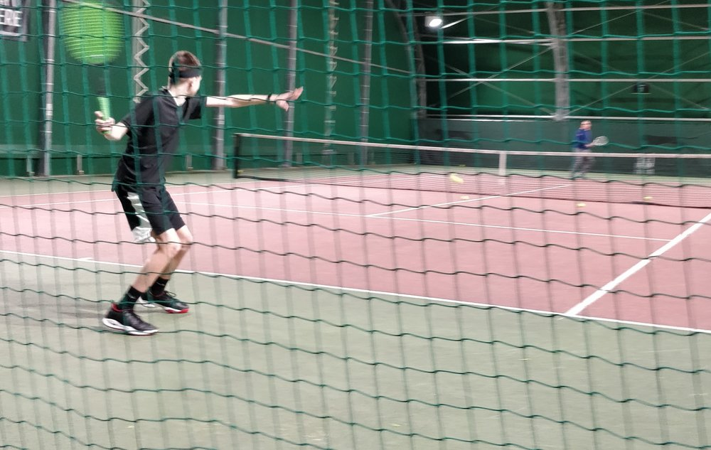 Sam back on court with his coach Simon Corbishley, getting back into some coach led sessions