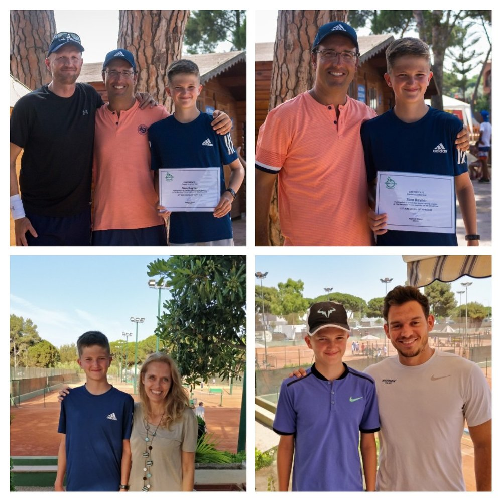 Sam with coach Raphael Maurer (plus his dad) , with Spanish Tutor Ghyslaine and with Nutritionist Edin Sehovic.