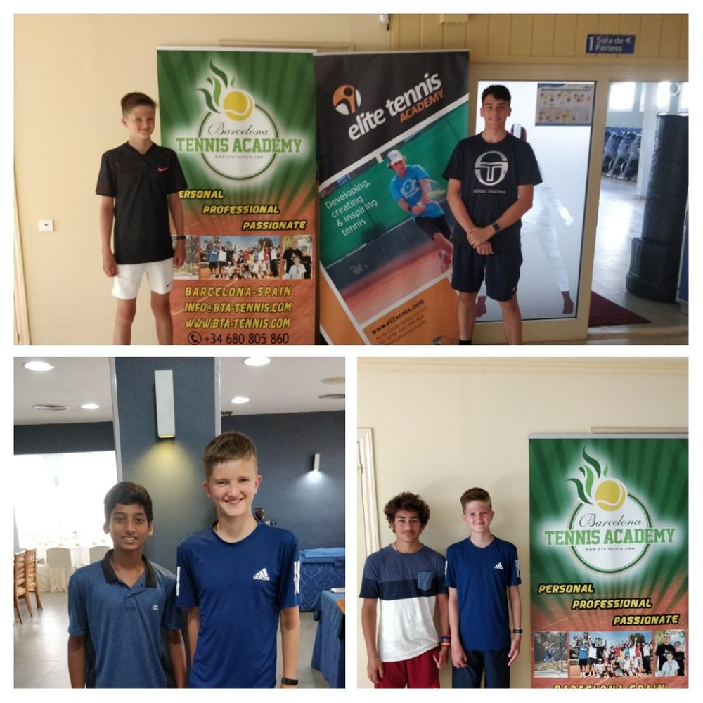 Sam with Antony from Pershore Tennis Centre, and with Viswa & Zalan who he trained with at Barcelona Tennis Academy.