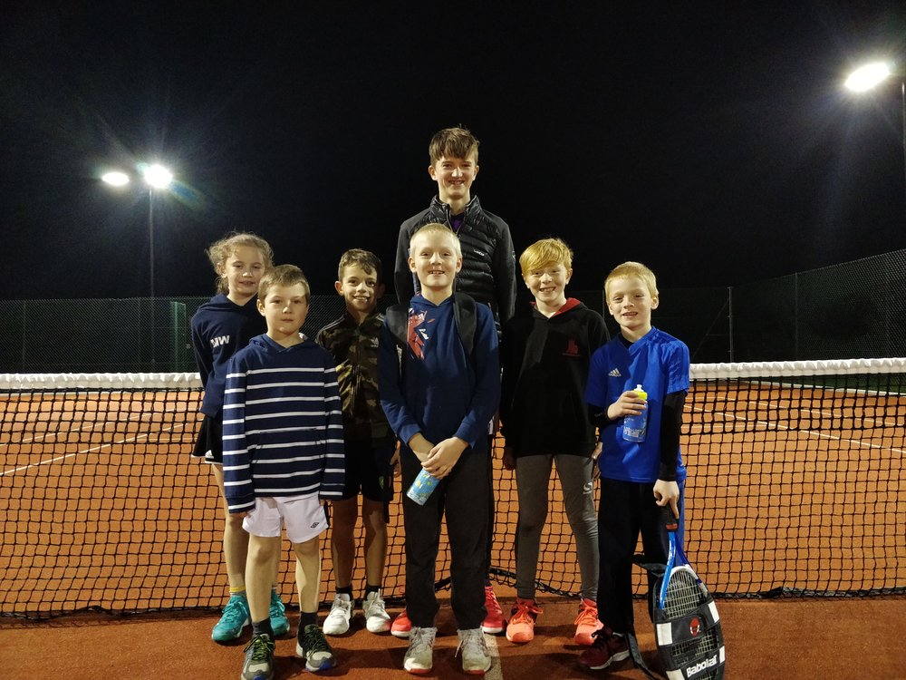 Sam with some of Pershore Tennis centre younger players