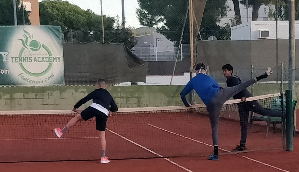 Here I'm warming up at Barcelona Tennis Academy on a recent training camp with Roman and Viswa