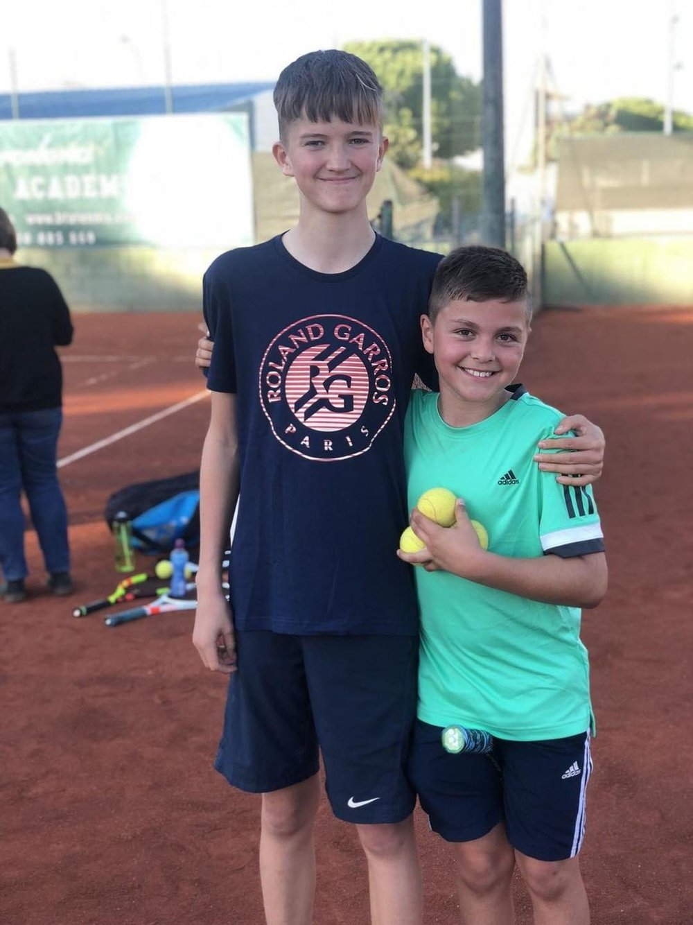 Sam with Roman aged 8 ( @roman_mateus2010  on Instagram) whilst at Barcelona Tennis Academy