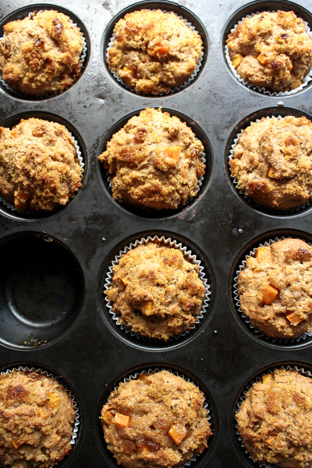 Sweet potato muffins | Me & The Moose. These one-bowl, whole grain muffins sneak in some vegetables at breakfast, lunch, or snack time. #sweetpotatomuffins #meandthemoose #sweet potatorecipes #thanksgiving #healthybaking