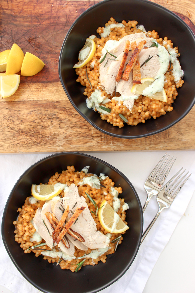 Lemon and rosemary turkey and couscous en cocotte | Me & The Moose. This one-pot (ish) meal has a low and slow cooking time, but is mostly hands-off and a much faster way to make delicious turkey breast without brining or drying out the meat. #turkeyrecipe #roastturkey #onepotmeal #avgolemono #israelicouscous #dinner #easydinner #healthydinner #encocotte