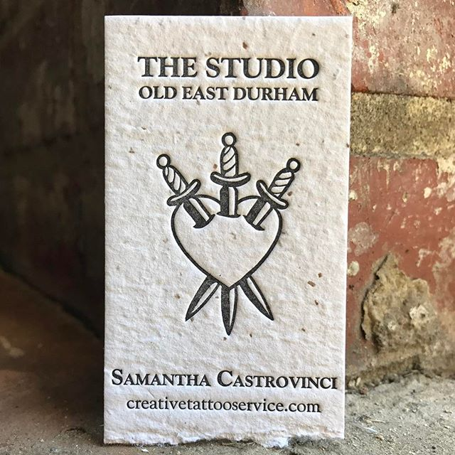 Love getting to run business cards for my favorite tattoo artist! ---Black ink on Porridge Paper's Blue Collar Quarter Sawn #letterpress @porridgepapers #highpointnc  #durhamnc