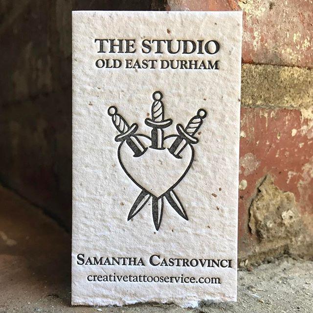 Love getting to run business cards for my favorite tattoo artist! ---Black ink on Porridge Paper's Blue Collar Quarter Sawn #letterpress @porridgepapers #highpointnc  #durhamnc