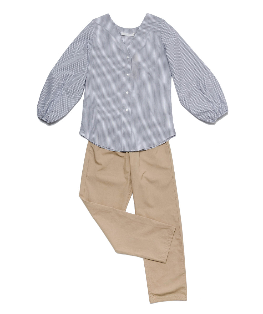 navy pinstripe bloused gathered sleeve top