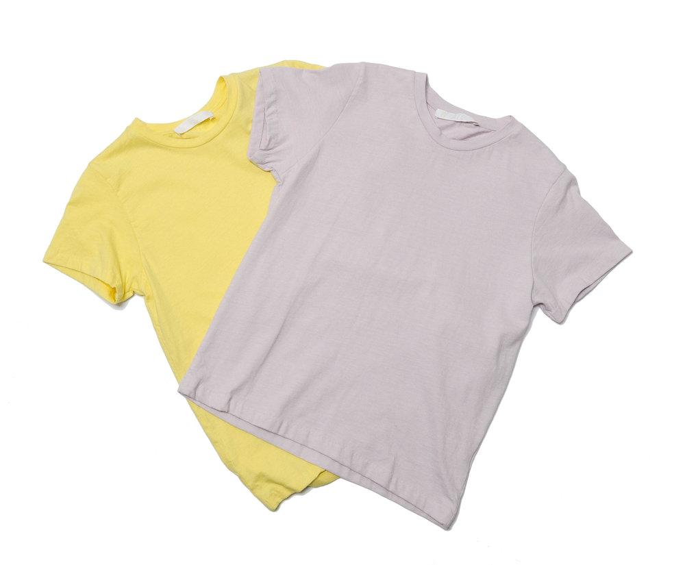 lemon, lilac cotton knit tees