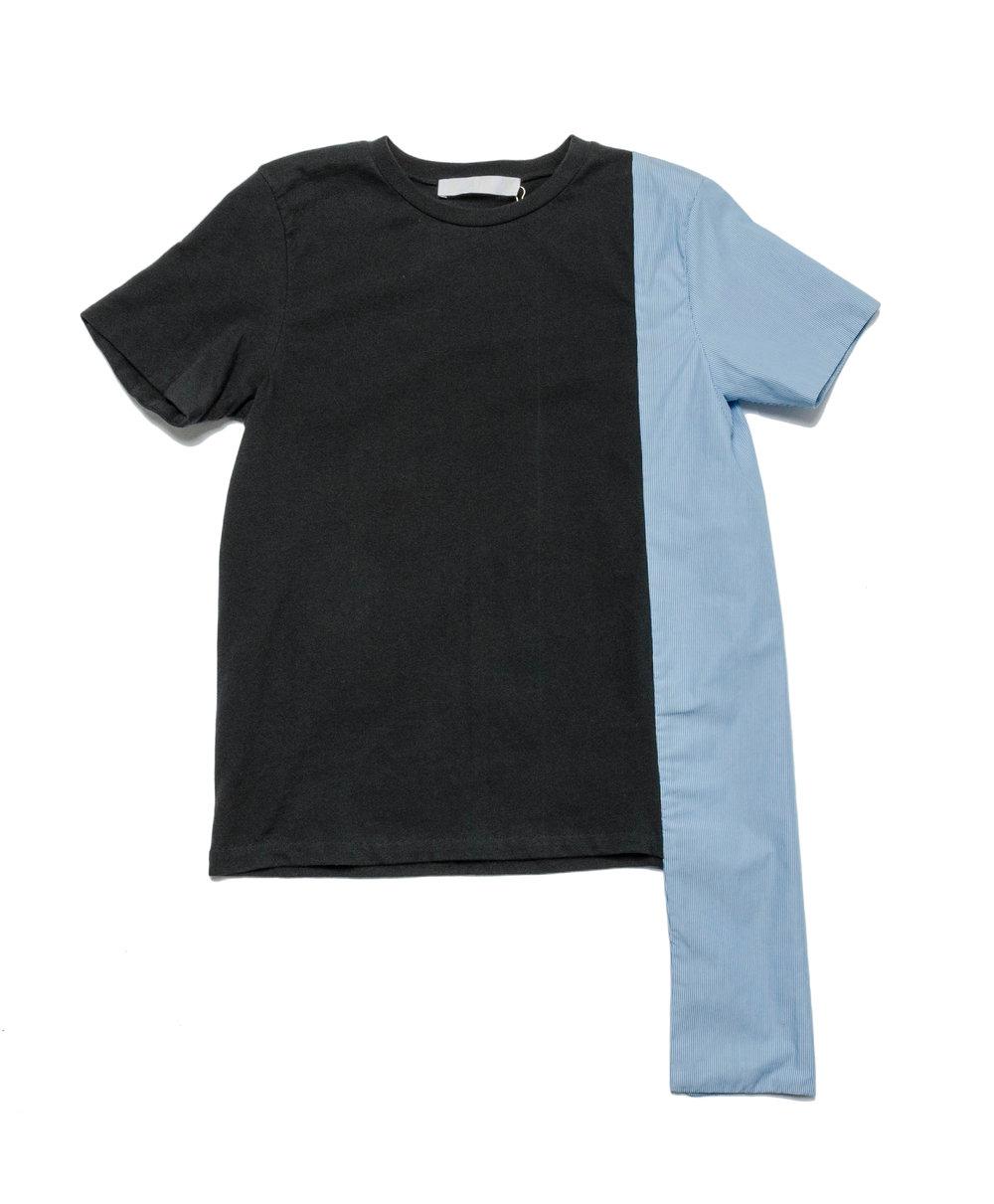 black, blue stripe cotton knit tee with cotton woven stripe detail