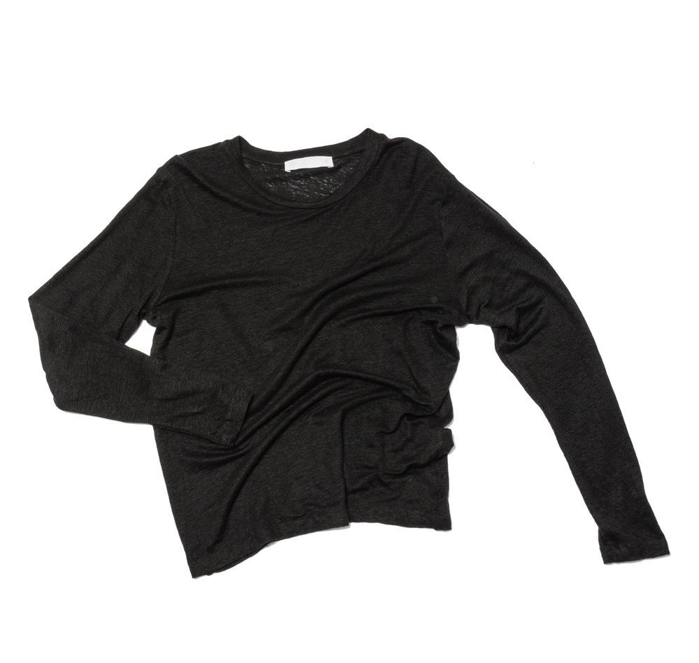 black cotton sheer knit top