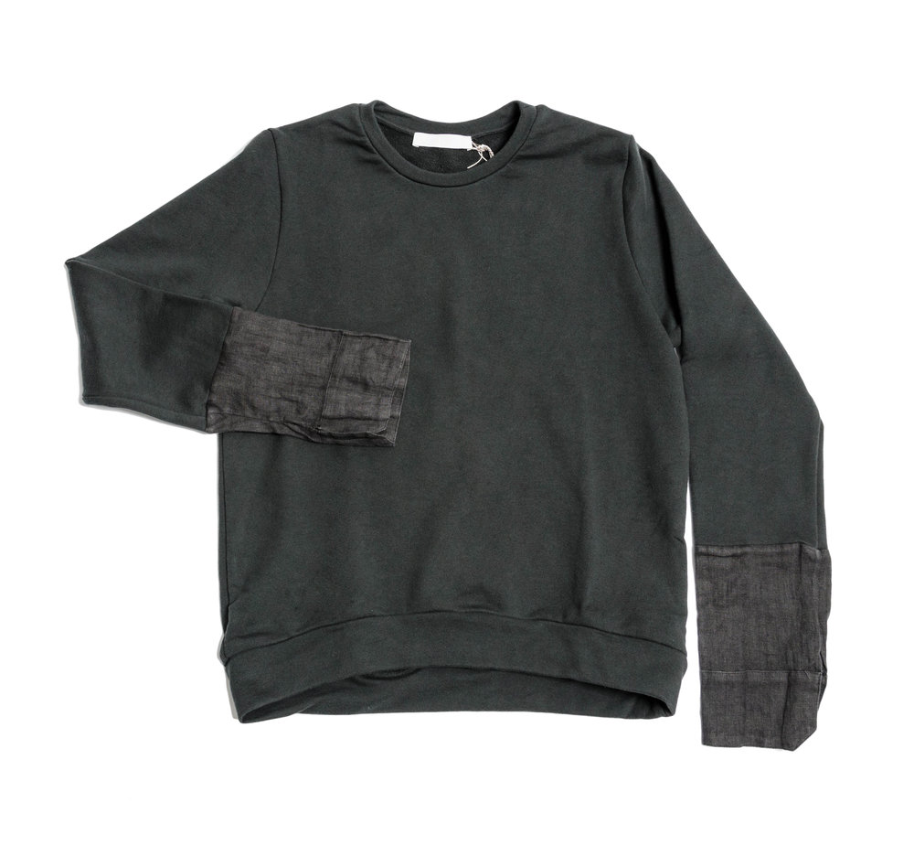 black knit sweatshirt with printed linen cuff