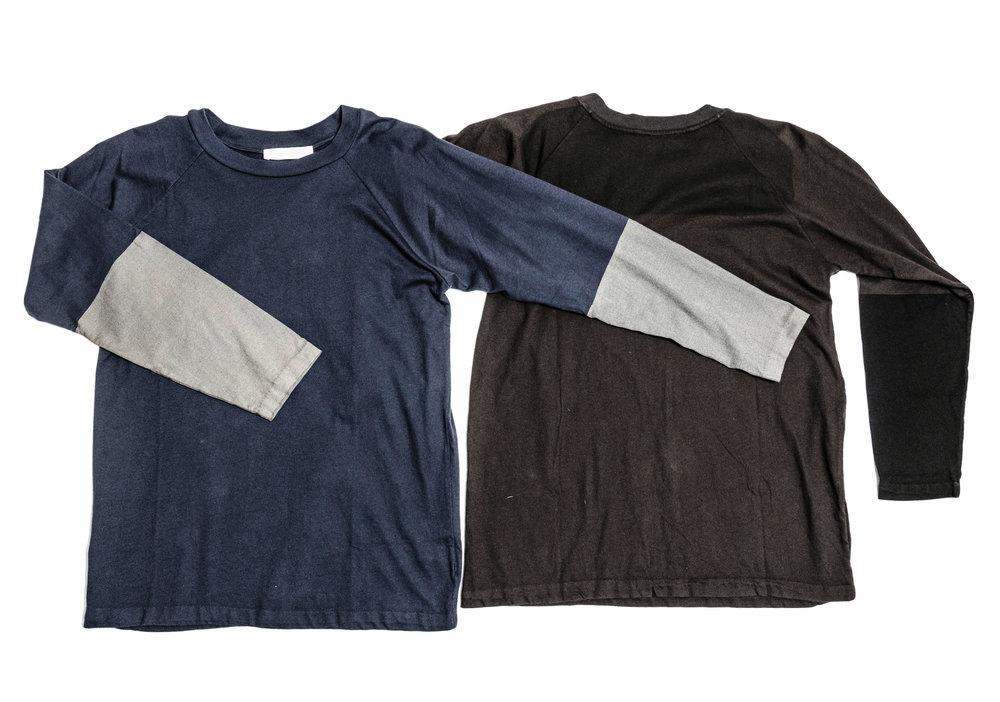 blue, grey / black, dark grey raglan knit tee