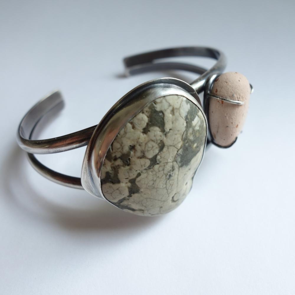 handcrafted beach stone cuff bracelet - MeritMade