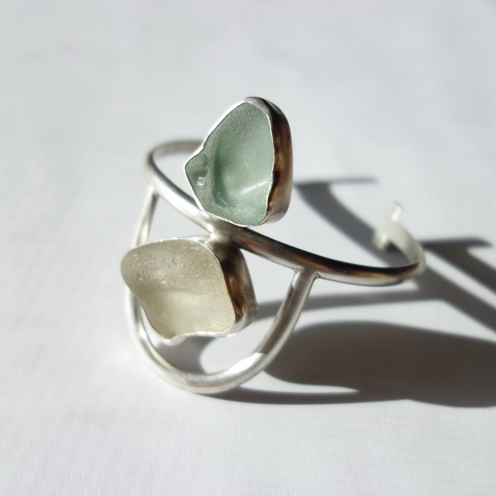 Beach Glass Cuff Bracelet by MeritMade
