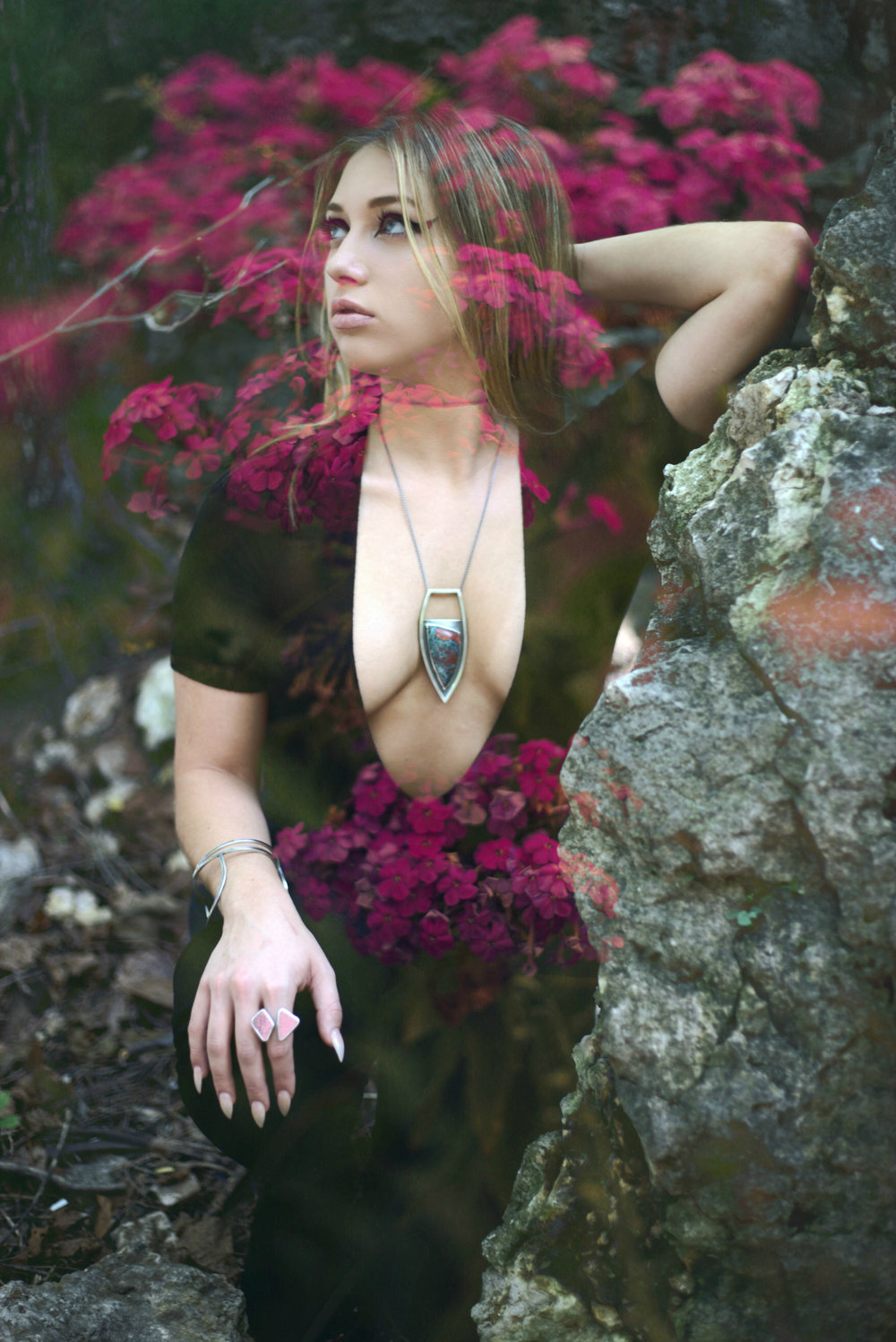 meritmade whitney smith wooinwonderland photoshoot silversmith jewelry double exposure