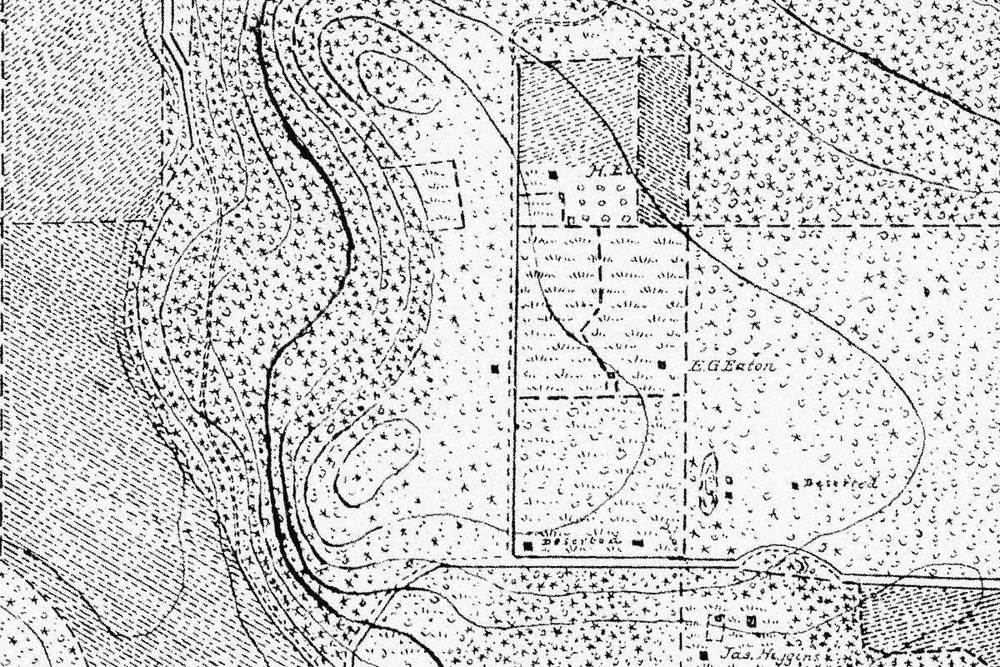 1897 survey of Lopez Island, showing farm buildings & fields