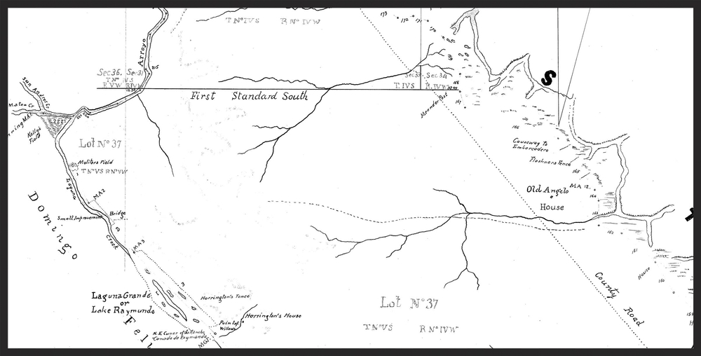 "Detail of a ""metes and bounds"" survey map of a California rancho"