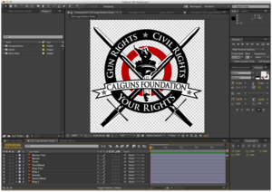 The logo now in After Effects, broken down into 3D friendly components.