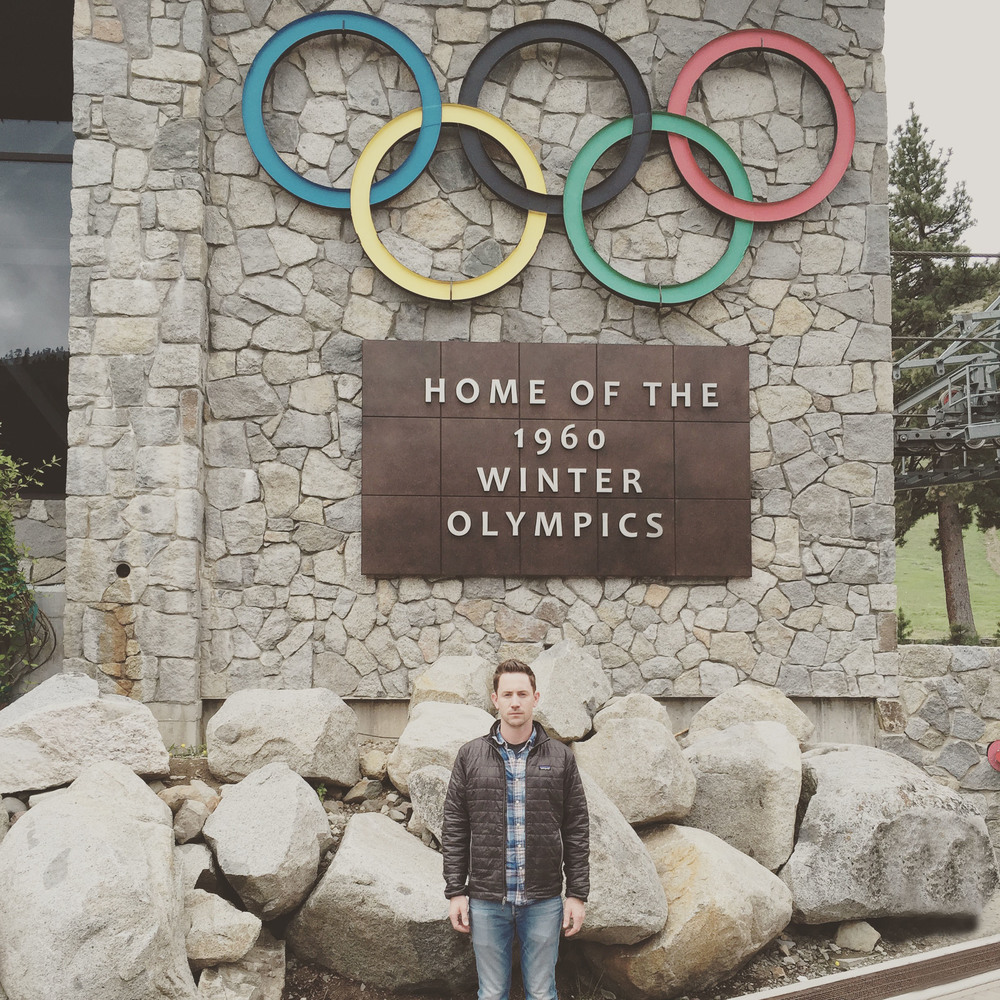 Stephen Chollet likes plaid shirts and down jackets, as shown by this rare photo in Squaw Valley, California.