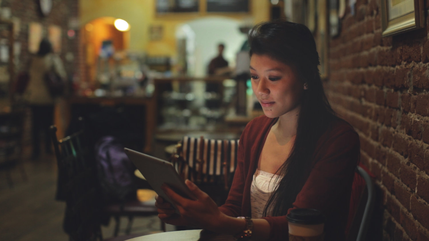 Frame from a Tri Counties Bank commercial shot on location at Mugshots Coffee in Oroville, CA.