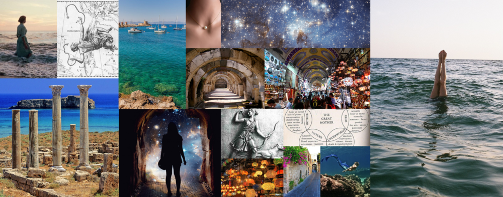 Novel aesthetic - perhaps a bit dreamier than representative of the pace and character agency of the story (no one stands around gazing wistfully at things), but I do love a good dreamy collage. More inspiration for my book over at my ever growing In Waves pinterest board.