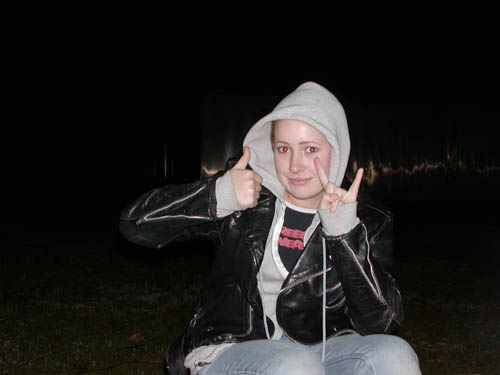 Thumbs Up + Devil Horns = Way Kewl. 13? Wearing my Screeching Weasel T-shirt and the leather jacket I spent weeks saving up for that I found in a crappy thrift store. My Dad sent me this pic a few months ago out of the blue. Thank god for that.