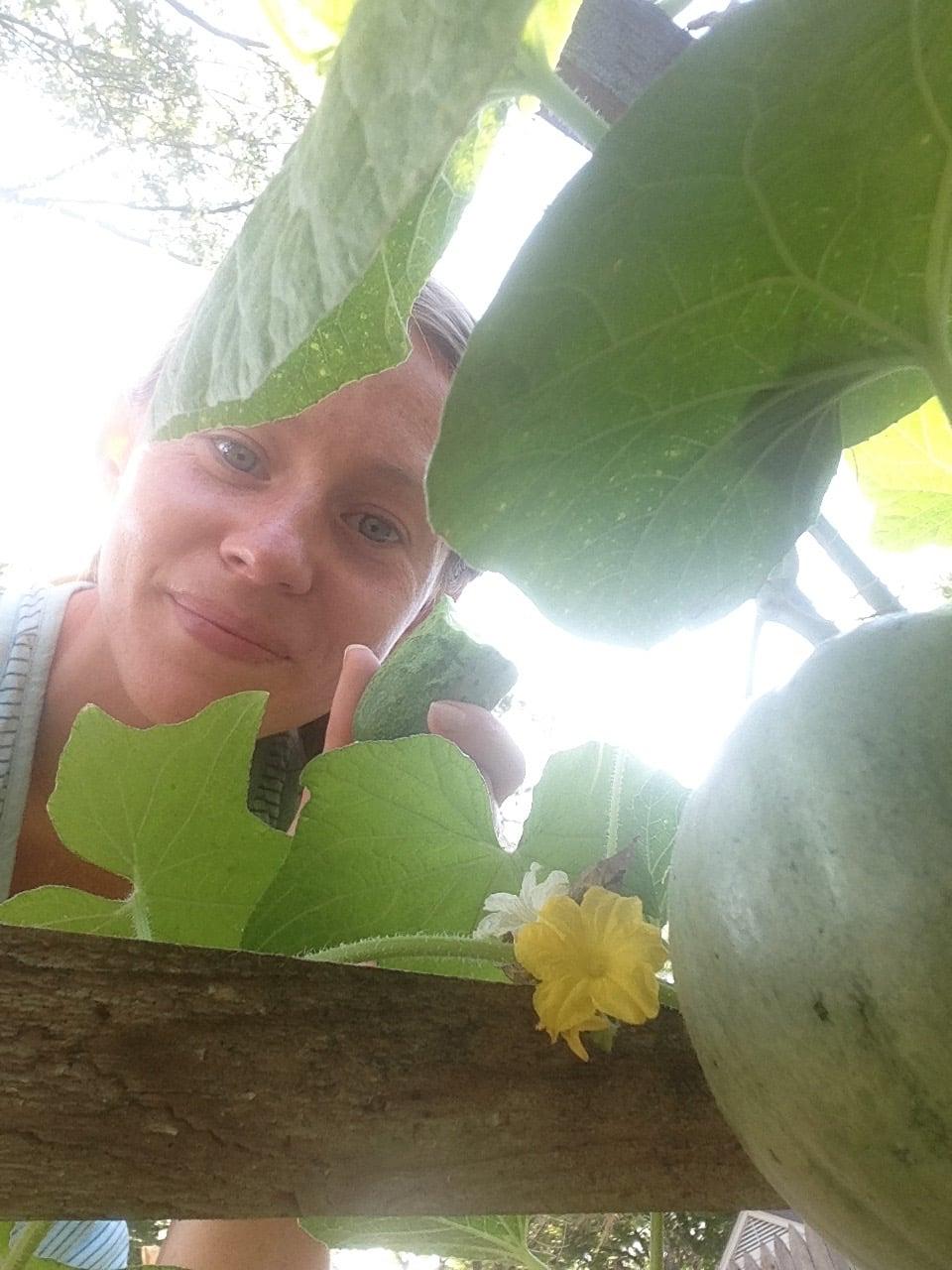Kara in her garden.