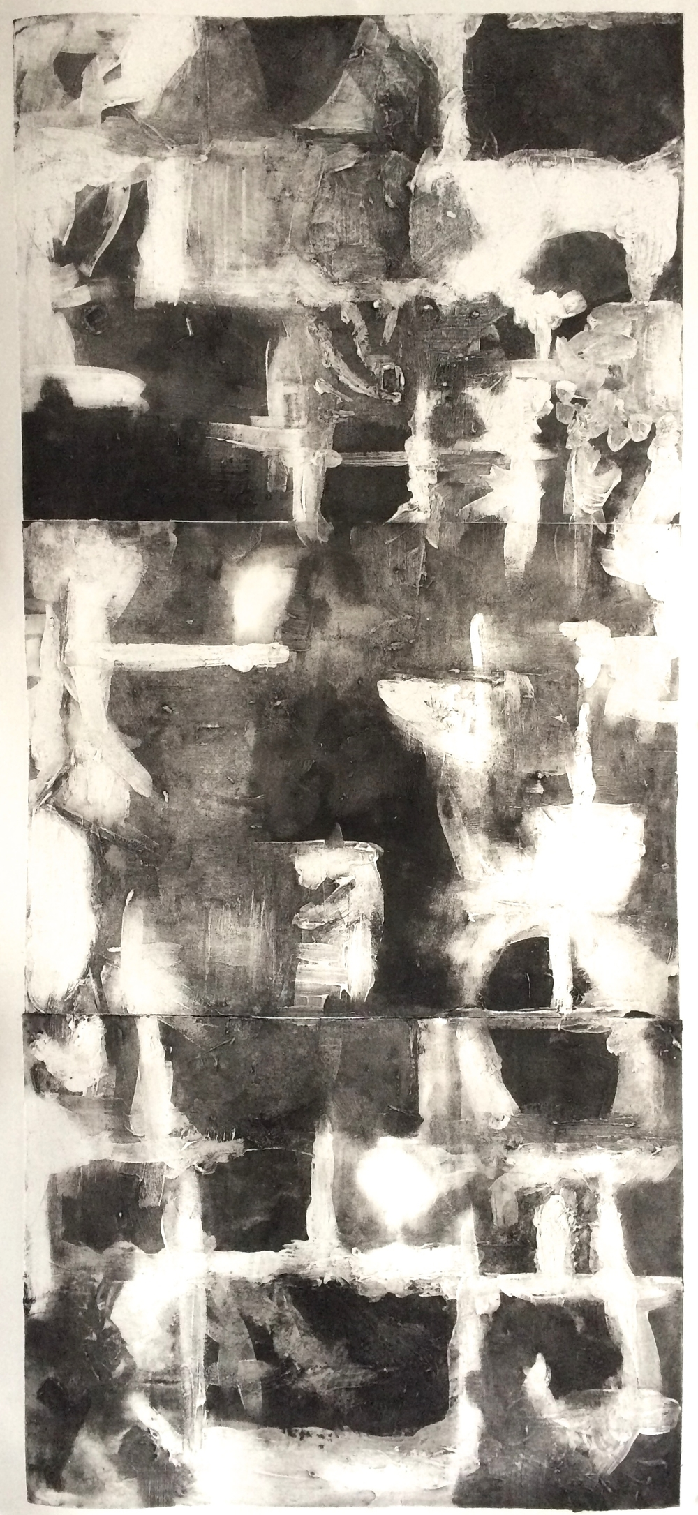 "Untitled , Carborundum Print, Water-based Ink on Paper, 36 x 16"", 2015"