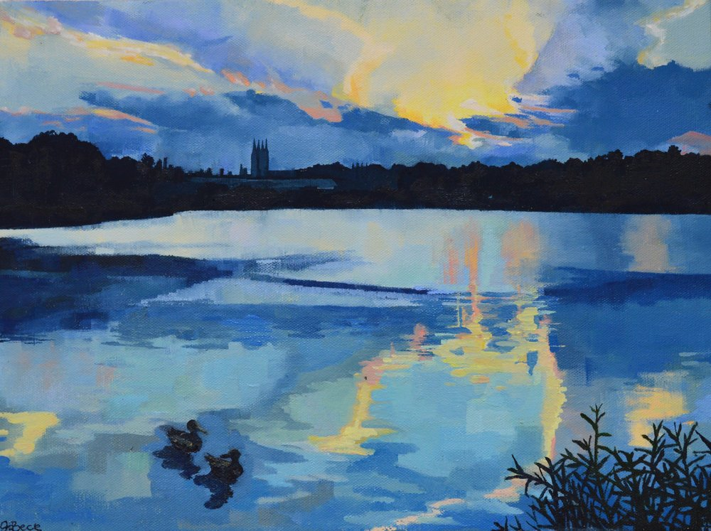"Sunset at the Reservoir , Oil on Canvas, 12 x 16"", 2018 (sold)"