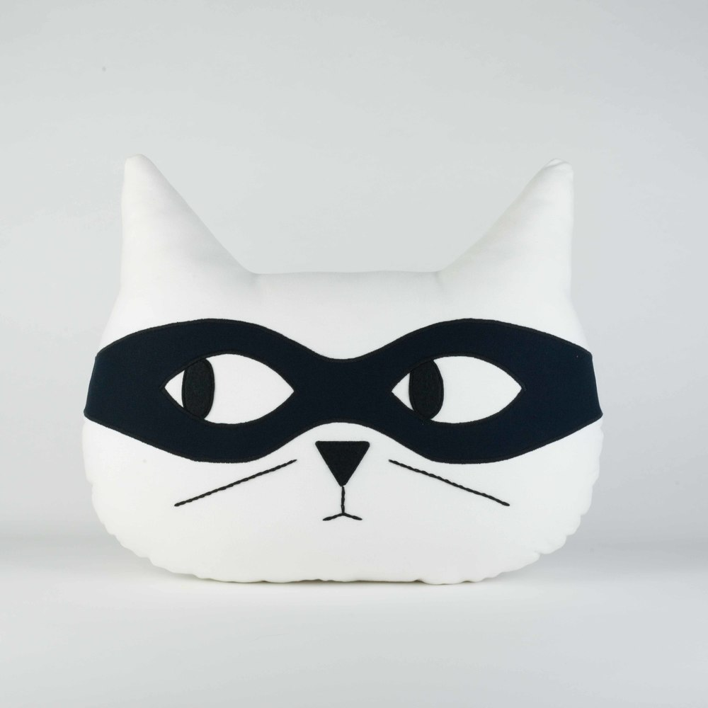 White with Black Mask - Cat Cushion