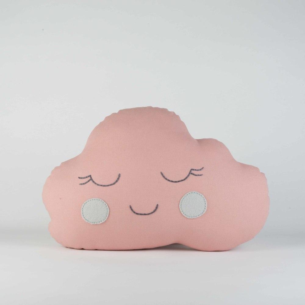 Pink Girl Cloud Cushion with Grey Cheeks